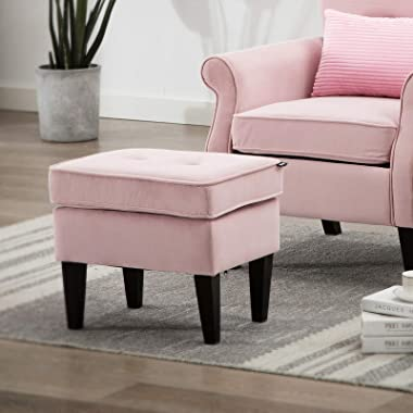 Artechworks Modern Button Tufted Velvet Upholstery Ottoman, Padded Seat Foot Rest Coffee Table Stool for Bedroom, Living Room