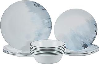 Corelle Vitrelle Tranquil Reflections 18 Pieces Dinnerware Set, White