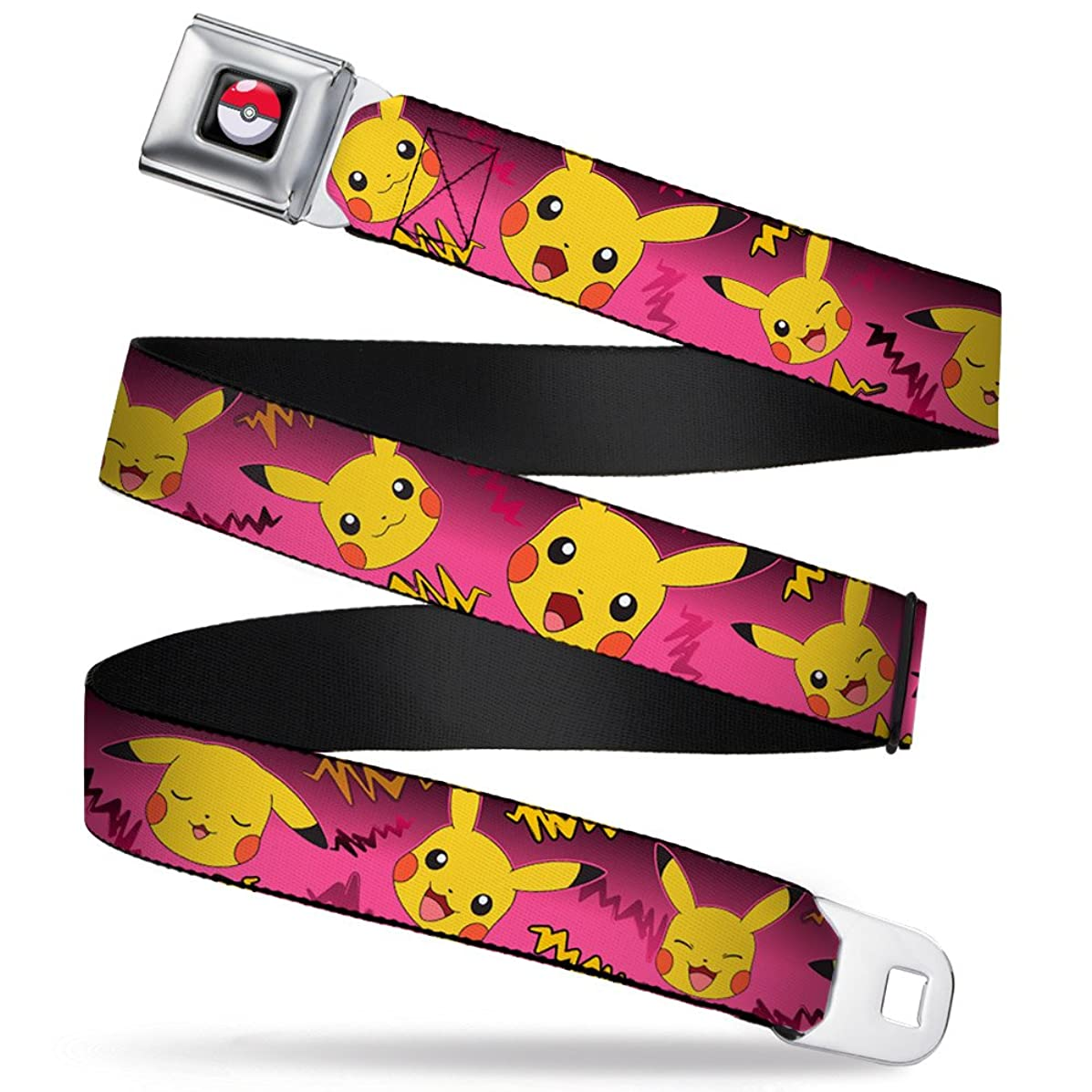 Buckle-Down Seatbelt Belt - Pikachu Expressions/Electric Waves Pinks/Yellows - 1.0