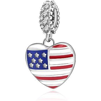 925 Sterling Silver American Flag//I Heart USA Heart Charm Bead