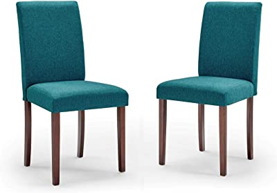 Modway Prosper Upholstered Fabric Dining Side Chair Set of 2, Teal