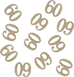 100 PCS Gold Glitter Number 60 Table Confetti 60th Birthday/Anniversary Celebrating Decorations