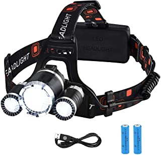 VicTsing Linterna Frontal Recargable LED Alta Potencia 6000 Lúmenes, Linterna Cabeza con 4 Modos, Automomía hasta 8H, Alcance de 500M, Impermeable IPX6 para Casco, Pesca, Bicicleta, Camping y Caza