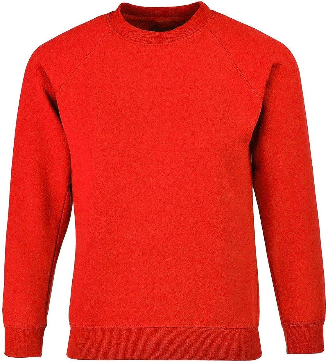 Girls Crew Neck Plain Sweatshirt Boys Long Sleeve School Uniform Wear Jumper