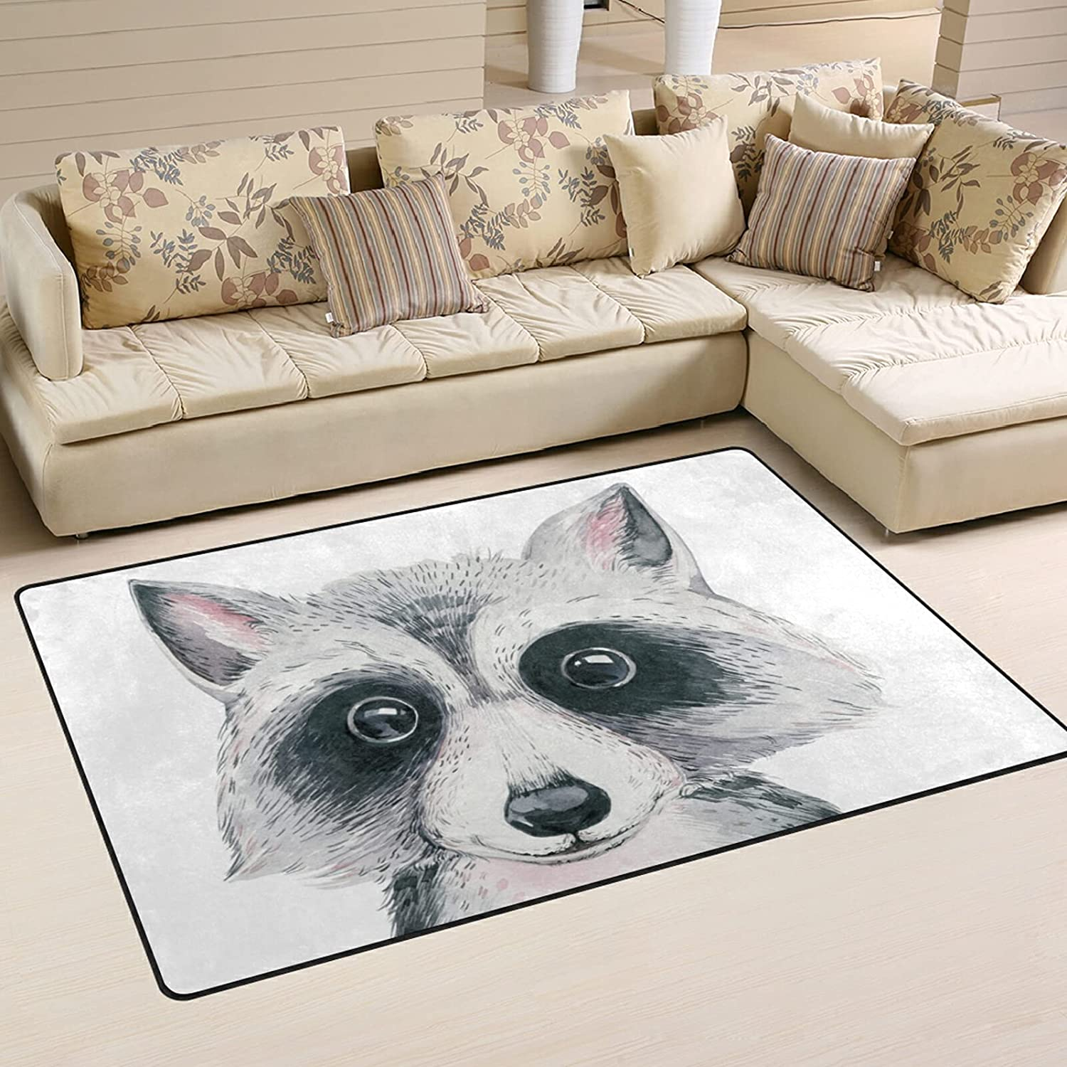Al sold out. Watercolor Cartoon Raccoon Large Soft Rugs Playmat Bombing free shipping Area Nursery