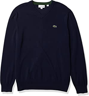 Lacoste Men's Long Sleeve V Neck Cotton Jersey Sweater