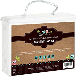 Luxuriously Soft Bamboo Crib Mattress Cover by Bebe Owl, Quilted White Waterproof Protector for Standard Sized Baby & Toddler Mattresses - Super Absorbent, Durable and Easy to Wash
