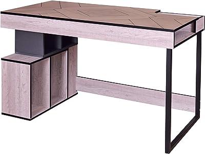 Axel Bureau Design Contemporain Table d'Ordinateur Bois Naturel et Noir 120 x 59,6 x 75 cm