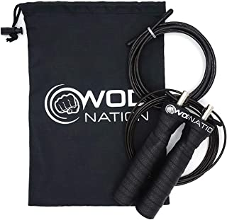 WOD Nation Attack Speed Jump Rope - Adjustable Jumping Ropes - Unique 2 Cable Skipping Workout System - 1 Thick and 1 Ligh...