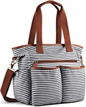 SFGHOUSE Sac /à langer en toile /à rayures pour maman et papa Grand sac multifonction avec matelas /à langer