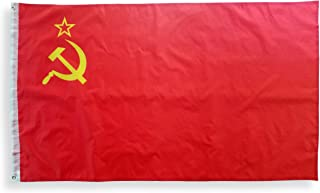 High Supply 3x5 Soviet Union Flag with Two Brass Grommets, 100% Polyester Fabric, and Double Stitched Edges, 3x5 USSR Flag, 3x5 Soviet Union Flag, Sickle and Hammer Flag, Soviet Flag