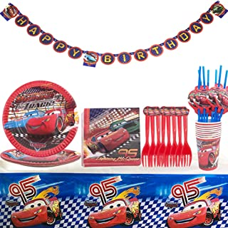 WENTS Car Kit Party Supplies Party Tableware for Boys Paper Plates Napkins Cups Straws Birthday Decoration Set Happy Birth...