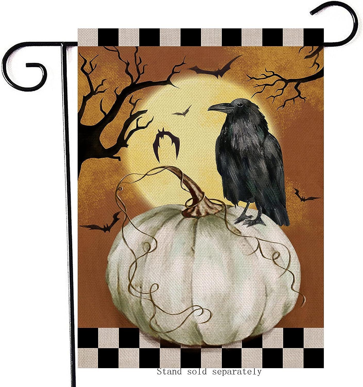 Artofy Halloween White Pumpkin Crow Bird Home Decorative Garden Flag, House Yard Moon Bat Outside Black White Buffalo Plaid Check Decor,Fall Autumn Outdoor Small Burlap Decoration Double Sided 12x18
