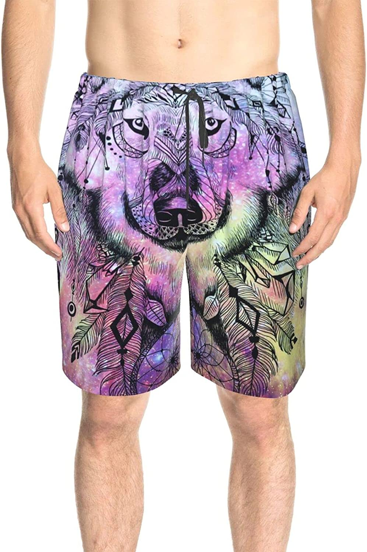 Men's Swim Shorts Galaxy Wolf Dream Catch Swim Short Boardshort Drawstring 3D Printed Summer Beach Shorts with Pockets