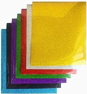 Assorted Colors Glitter Heat Transfer Vinyl Glitter Iron on Vinyl Sheets for T-Shirts 12