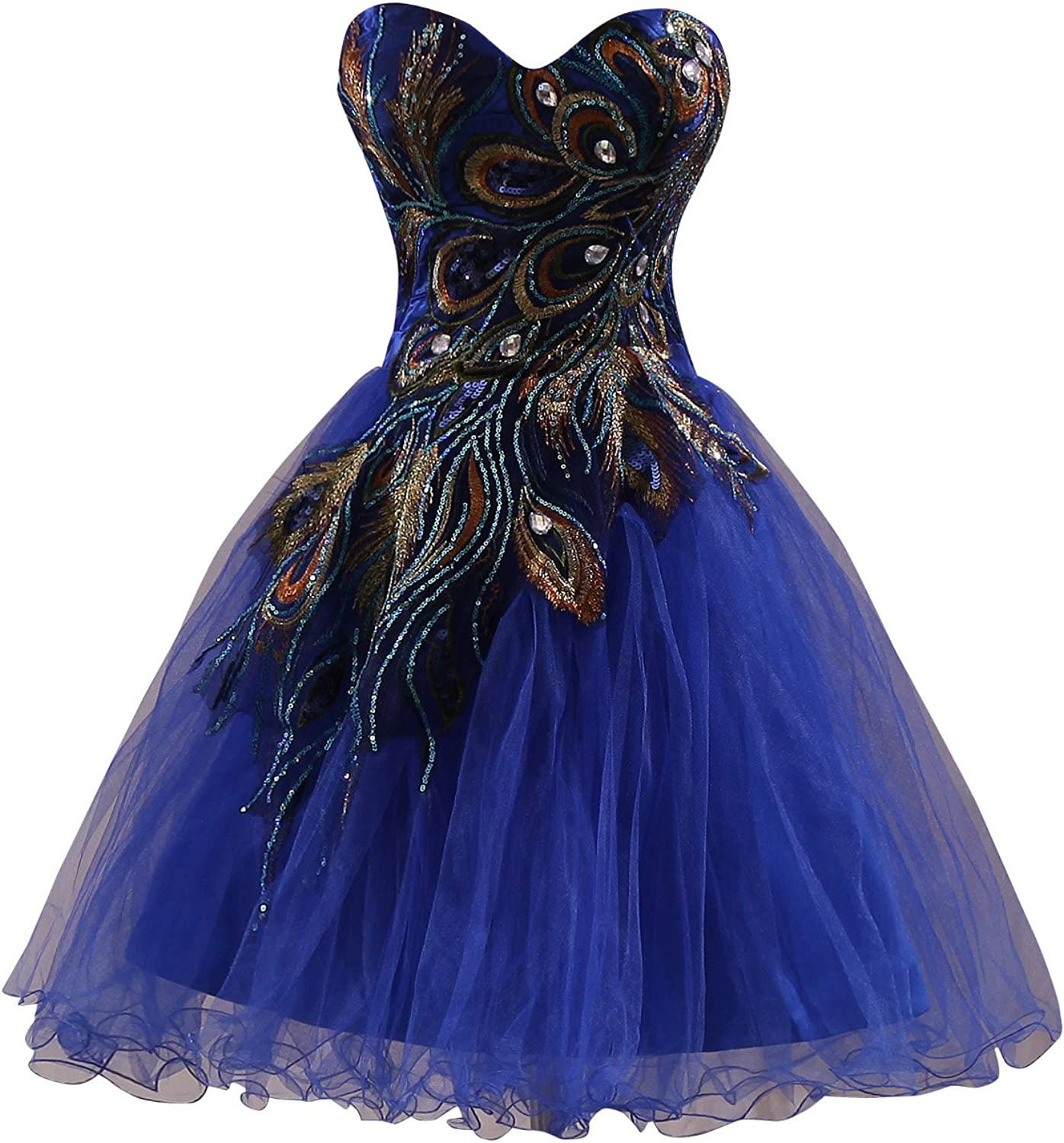 Clearbridal Women's Short Peacock Prom Party Homecoming Dress SD039A