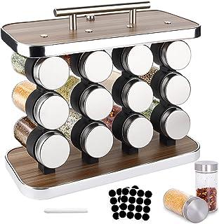 BEYAOBN Présentoir à Épices -12 Pots Verre, Acier Inoxydable Portable Porte-épices, Pour Rangement Epices Cuisine, Barbecu...