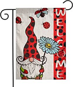 YANGHOME Ladybug Gnome Flower Spring Summer Burlap Garden Porch Lawn Flag Farmhouse Decorations Mailbox Home Decor Welcome Sign 12x18 Inch Double Sided Nylon Linen Fabric