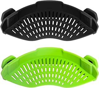 AUOON Clip on Strainer for pots Pans,2PACK,Heat Resistant Silicone, Easy to Use and Store, Dishwasher Safe,BlackGreen