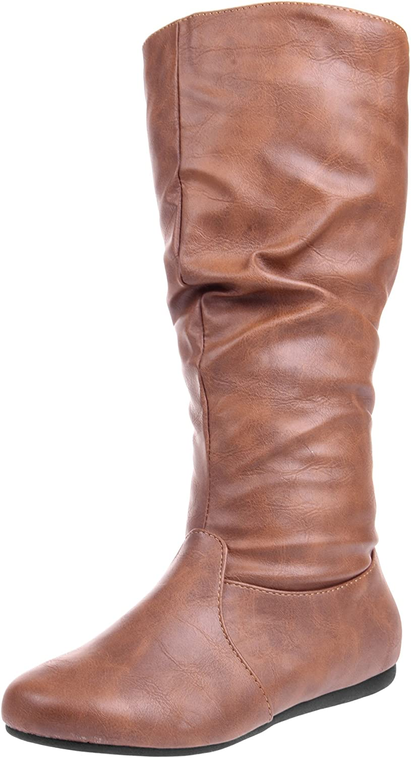 Enimay Women's Winter Fashion High Slouchy Mid Flat Calf Max 82% OFF Leather Large-scale sale