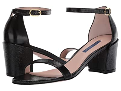 Stuart Weitzman Simple City Sandal (Black Caviar Patent) High Heels