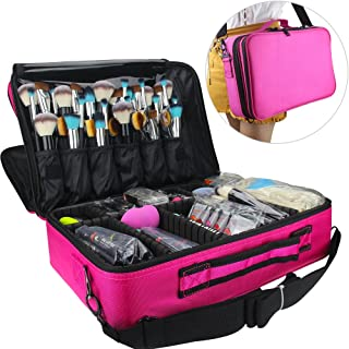 "Relavel Makeup Bags Travel Large Makeup Case 16.5"" Professional Makeup Train Case 3 Layer Cosmetic Bag Makeup Artist Organizer Brush Holder Storage with Shoulder Strap and Dividers (Large Hot Pink)"