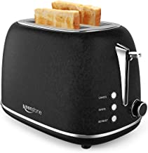 2-Slice Retro Toasters, Anti-fingerprint Stainless Steel Toaster with Wide Slots, Bagel/Defrost/Cancel Function, Removable Tray, Black
