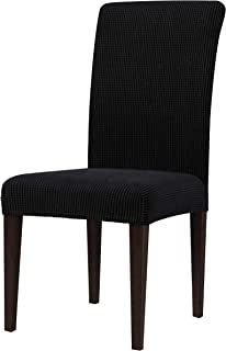 Best subrtex Dining Room Chair Slipcovers Sets Stretch Furniture Protector Covers for Armchair Removable Washable Elastic Parsons Seat Case for Restaurant Hotel Ceremony(4,Black) Review