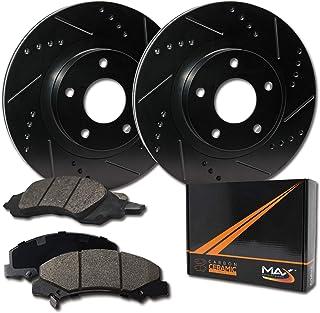 Max Brakes Front Elite Brake Kit [ E-Coated Slotted Drilled Rotors + Ceramic Pads ] KT004881 Fits: Honda 03-12 Accord Coupe & Accord Sedan LX 13-15 Civic EX 03-11 Element 02-04 CRV