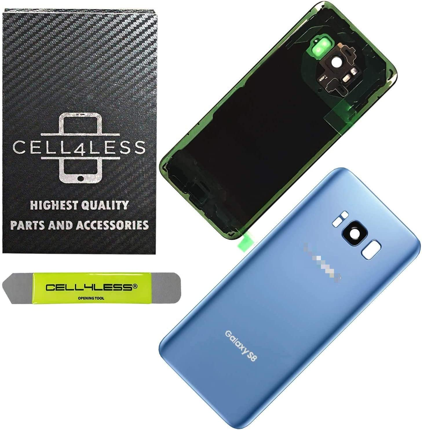 CELL4LESS Replacement Back Glass Cover Back Door w/Pre-Installed Camera Lens/Frame, Adhesive & Removal Tool Samsung Galaxy S8 - All Models G950 All Carriers (Blue)