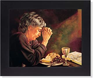 Gratitude Old Lady Praying at Dinner Table Daily Bread Woman Religious Wall Picture Framed Art Print