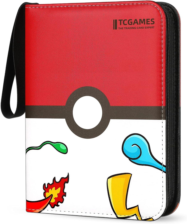 TCGAMES Card Binder for Pokemon Cards Binder 4-Pocket, 440 Pockets Trading Card Games Collection Binder with Sleeves