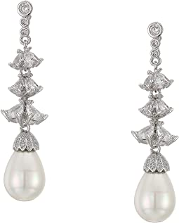 CZ & Pearl Linear Drop Earrings