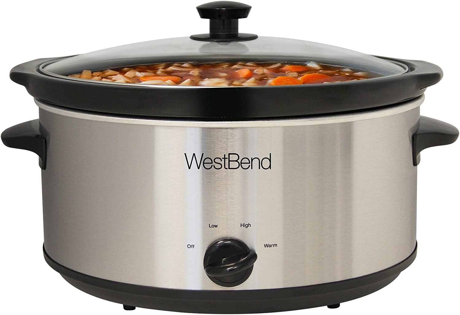 West Bend 87156 Oval Manual Slow Cooker with Ceramic Cooking Vessel and Glass Lid, 6-Quart, One Size Fits All All, Stainless Steel