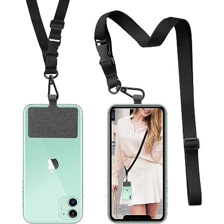 ROCONTRIP Crossbody Telefon Lanyard Patch Halsband Lanyard mit abnehmbarem Halsband Kompatibel mit den meisten Smartphones für iPhone Google Pixel LG HTC Huawei (Schwarz)