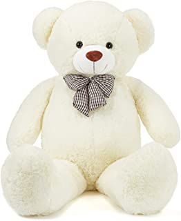 IKASA 100cm Giant Cuddly Stuffed Animals Plush Teddy Bear with Bow-Knot Gifts for Valentine's Day Birthday Children's Day ...
