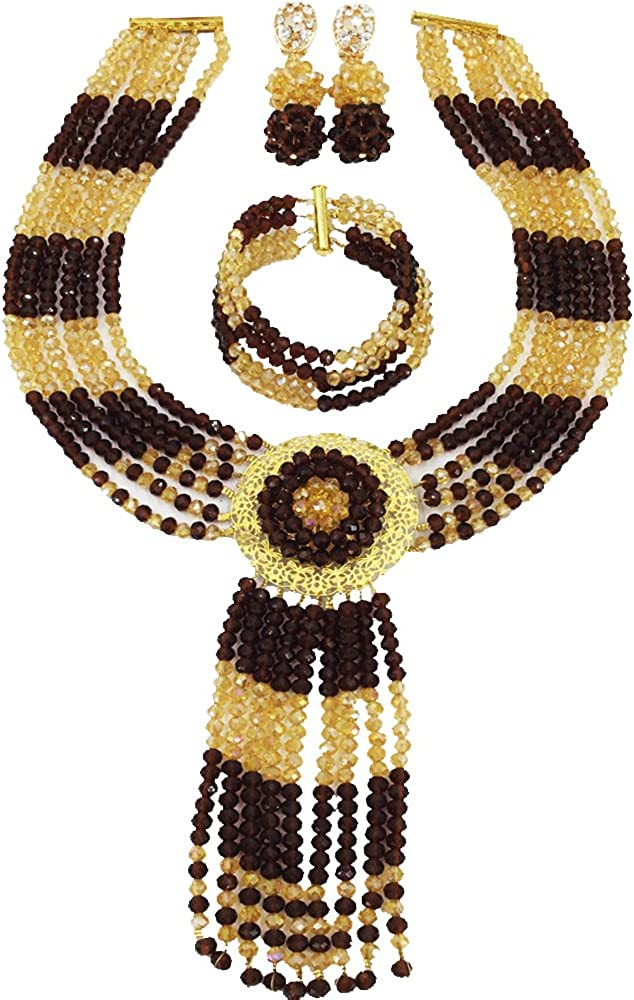 laanc Nigerian Wedding African Jewelry Sets Brown and Gold Champagne Crystal Beads C-Chain Necklace Bride