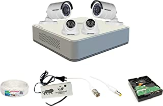 Sia Technology Hikvision 4 Channel HD DVR and 2 Bullet, 2 Dome HD Camera Combo Kit, Include All Require Accessories for 4 ...