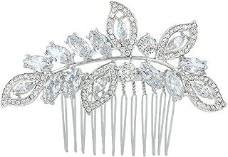 EVER FAITH Cubic Zirconia Austrian Crystal Leaf Wing Bridal Wedding Hair Side Comb Clear