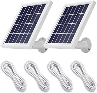 OLAIKE Solar Panel(2 Pack)Compatible with Ring Spolight Cam Battery& Stick Up Cam Battery&Video Doorbell,Waterproof Charge Continuously,With Secure Wall Mount & 3.8M Power Cable-4 pieces ,Square White