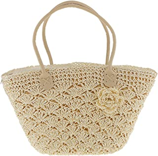 D DOLITY Magazine Style Woven Gold Line Shell Bag Crochet Knitted Straw Bag White