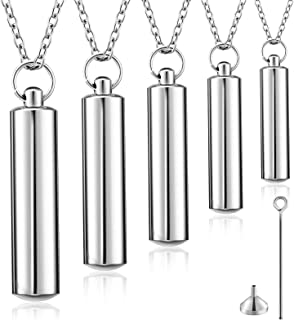 Hicarer 5 Pieces Cylinder Cremation Urn Necklace Memorial Necklace Stainless Steel Remembrance Pendant Jewelry with Funnel