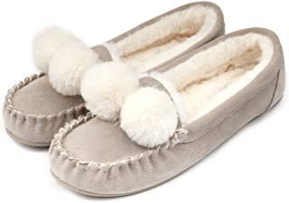 BCTEX COLL Women's Leather Moccasins Slippers with Pom Pom,Flat Softsole Loafer House Shoes