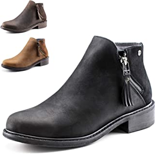Parfeying Crazy Horse Leather Waterproof Zipper Ankle Boots for Women,Mid Heel,Pig Leather Lining, Non-Slip Rubber Sole,Memory Foam Insole