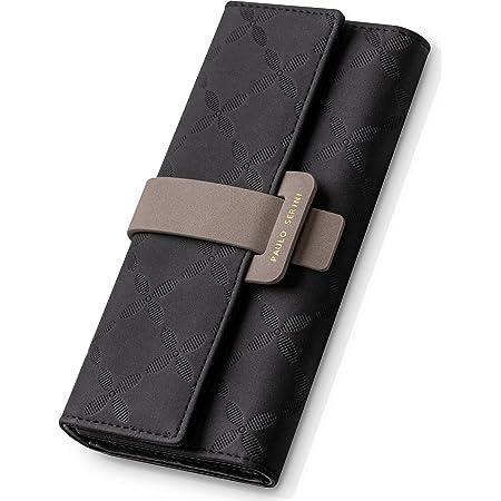 PAULO SERINI® Geldbörse Damen - Portemonnaie Damen 100% veganes Leder - Geldbeutel für Frauen groß mit 9 Kartenfächern Frauen - Women Wallet Onyx Black - schwarz