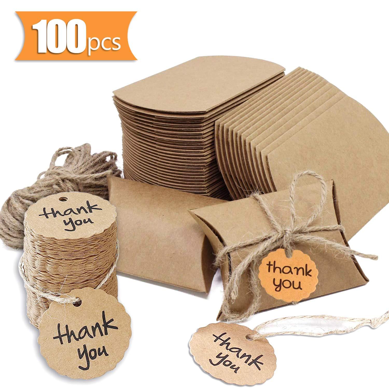 Cajas de Papel Kraft Vintage, 100 Piezas Cajas para Regalo con tarjeta de agradecimiento Bolsas de Regalo Cajas Vintage Kraft envolver cajas de dulces de regalo para Boda Fiesta: Amazon.es: Oficina y