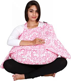 Lulamom Nursing Cover with Pillow Combo Pack, Pink