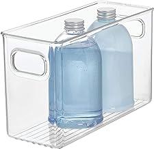 InterDesign Linus Bathroom Vanity Organizer Bin – Cabinet Storage Box for Health and Beauty Products - Medium, Clear