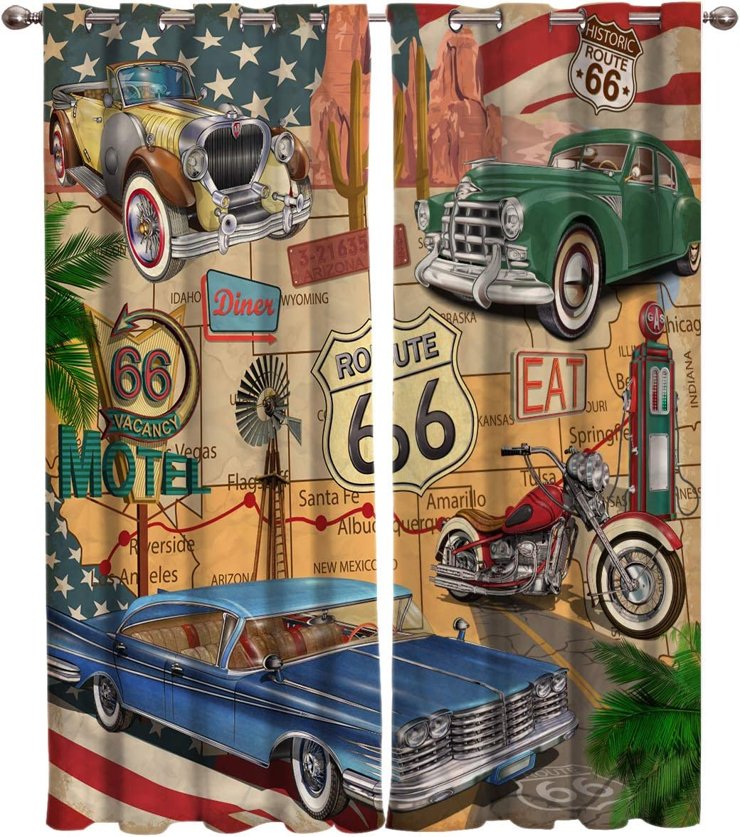 FortuneHouse8 Blackout Curtains Thermal Insulated Antique Classic Car American Route 66 Motorcycle Room Drapes Window Curtain for Bedroom Living Room Set of 2 Curtain Panels Home Fashion 40x84inch