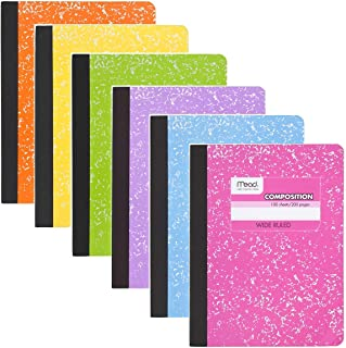 Mead Composition Book, 6 Pack of Wide Ruled Composition Notebooks, Wide Rule paper, 100 sheets (200 Pages), Pastel Color N...